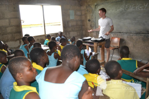 David educates local school children about solar technology and the benefits it can provide.
